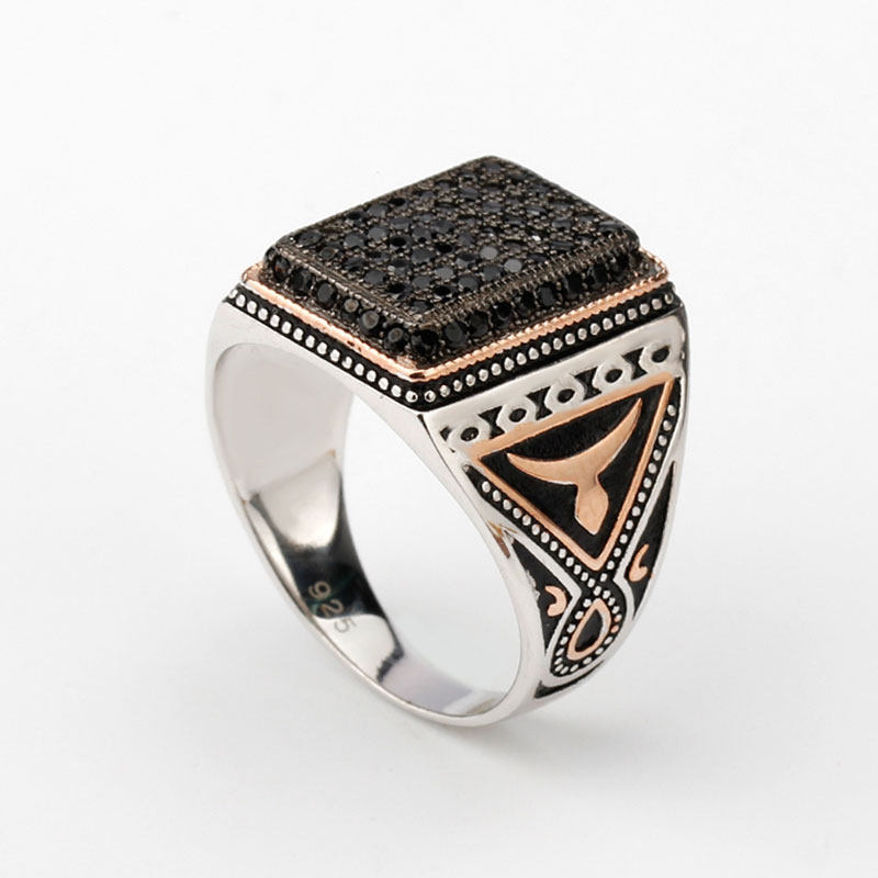 925 Sterling Silver Rings Signet Vintage Black CZ Stone Two Tone Plated Silver Rings Antique Ring for Men Women Gift цены онлайн