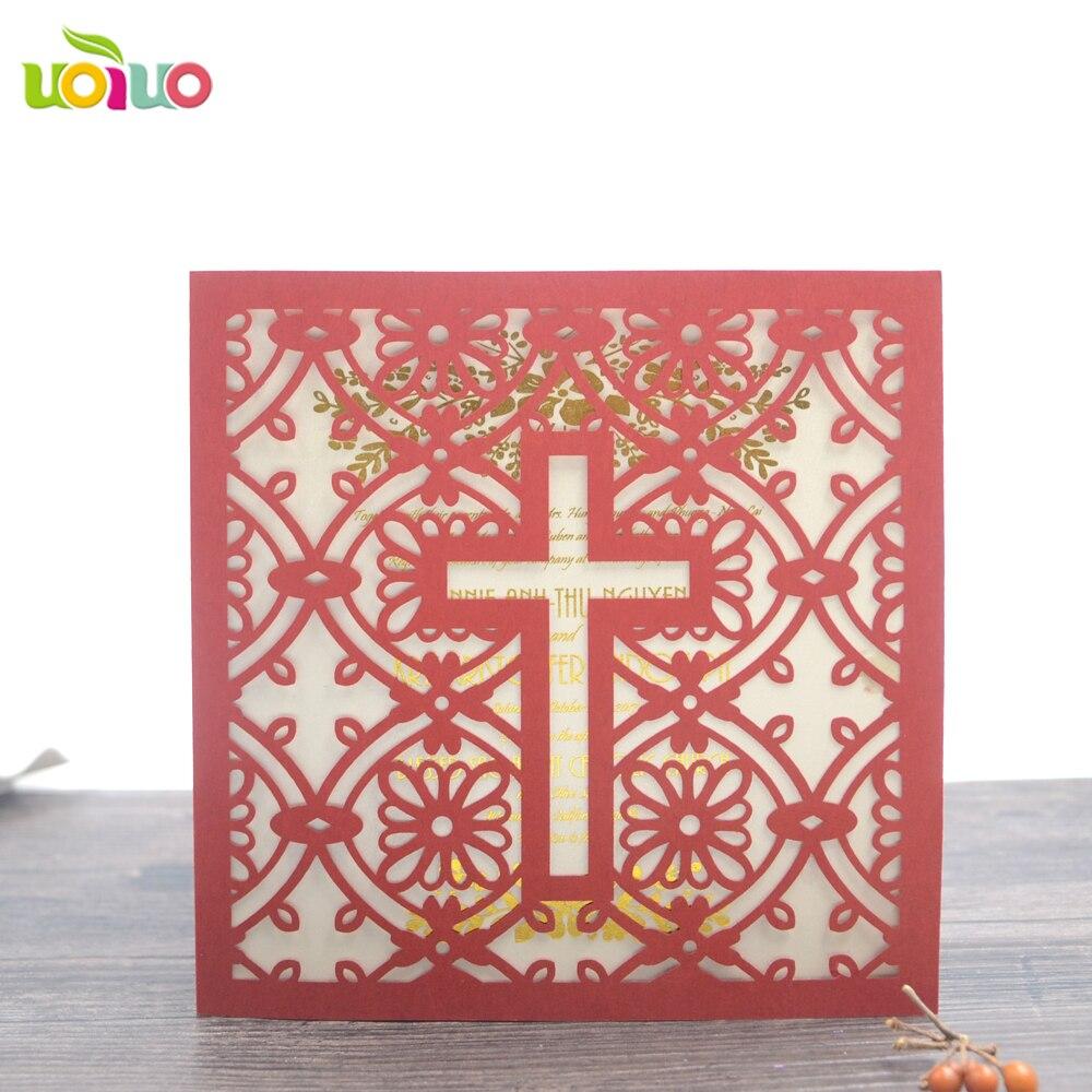 50pcs Handmade Laser Cut Baptism Wedding Invitation Card 3D Die Cut ...