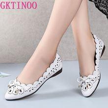 حذاء نسائي صيفي من الجلد الأصلي يسمح بمرور الهواء من GKTINOO موضة 2020 حذاء مسطح بكعب منخفض مزود بعقدة فراشية من الجلد سهل الارتداء للنساء