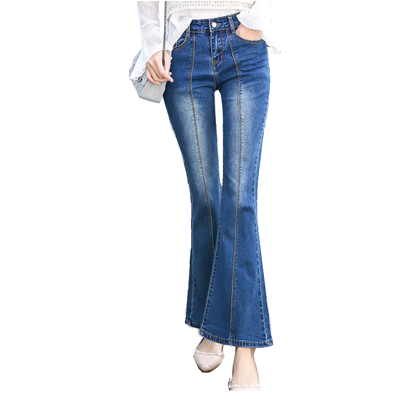 Plus Size High Waist Flare Jeans For Women Stretch Slim Bell Bottom Jeans Woman Flare Denim Pants Retro Jeans Mom Casual Work