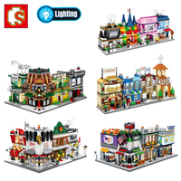 Mini City Street Museum Wine Bar Express Church Coffee Jewellery Shop Store Light Blocks Building Toy Legoings Gift Collection