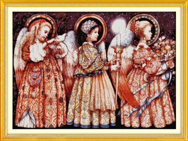 Conosciuto Vigilia di natale angeli punto croce kit persone 18ct 14ct 11ct  EA06