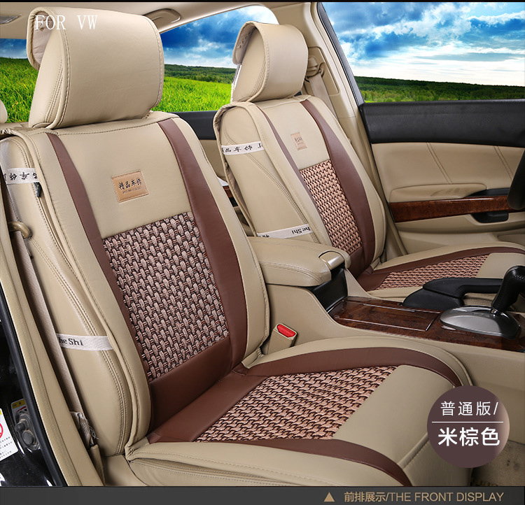 for Volkswagen VW polo golf fox Beetle Passat Tiguan pu Leather weave Ventilate Front&Rear Complete car seat covers four seasons silk breathable embroidery logo customize car seat cover for vw volkswagen polo golf fox beetle sagitar lavida tiguan jetta cc