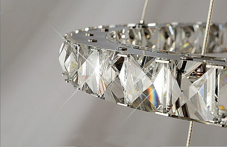 Modern Chrome Chandelier Crystals Diamond Ring LED Lamp Stainless Steel  Hanging Light Fixtures Adjustable Cristal LED Lustre In Chandeliers From  Lights ...