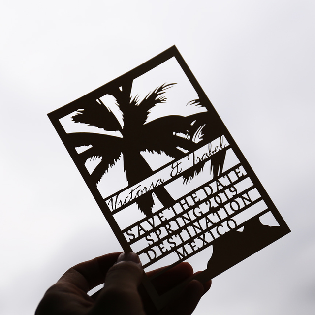 Customized laser cut PALM TREE save the date laser cutting wedding