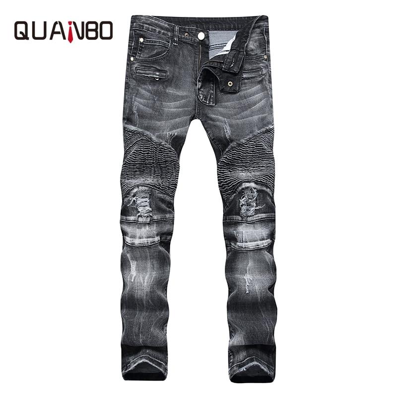 2019 New Fashion Men Jeans Runway Slim Racer Biker Jeans Fashion Hiphop Skinny Jeans For Men Denim Joggers Pants Black Blue 42