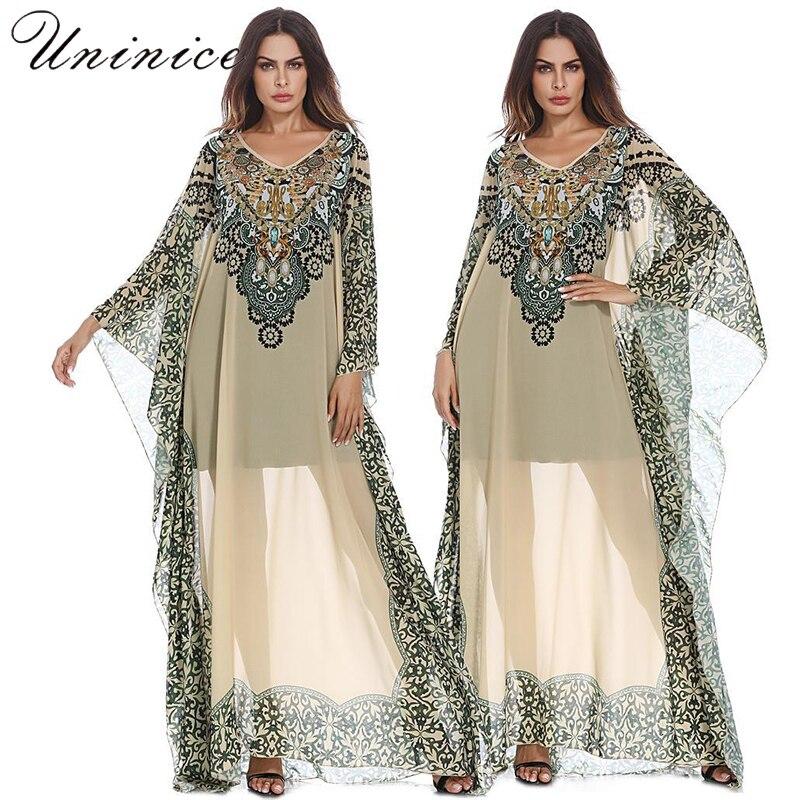 Printed Chiffon Dress Middle East Ethnic Style Long Dress Abaya Long Sleeve Isla