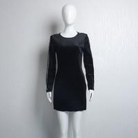 Girl Dress Women Lady Clothes Black Velvet Sexy Slim Sleeeves With Diamond One Piece Dress