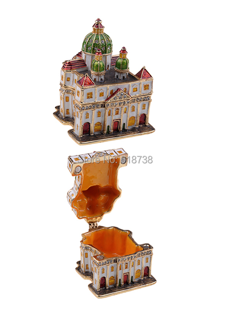 Church house metal alloy jewelry box hinged trinket box metal ...