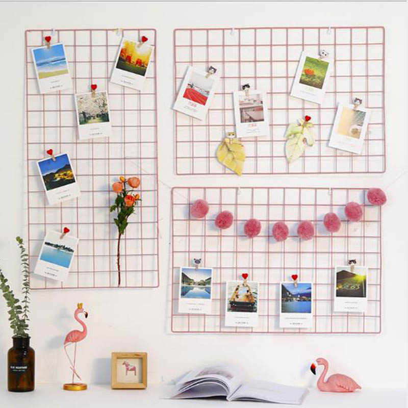 Home Decotate Wall Decorate Postcards Mesh Frame Grid Frame Iron Storage Grids DIY Decoration Light