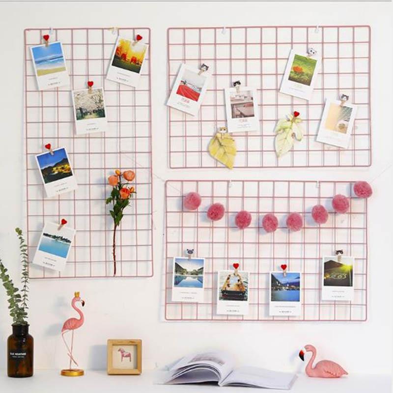 Home Decotate Wall Decorate Postcards Mesh Frame Grid Frame Iron Storage Grids DIY Decoration Light