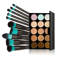 Free Shipping 15 Colors Pro Makeup Concealer Cream Cosmetic Palette 10pcs Brush Tool