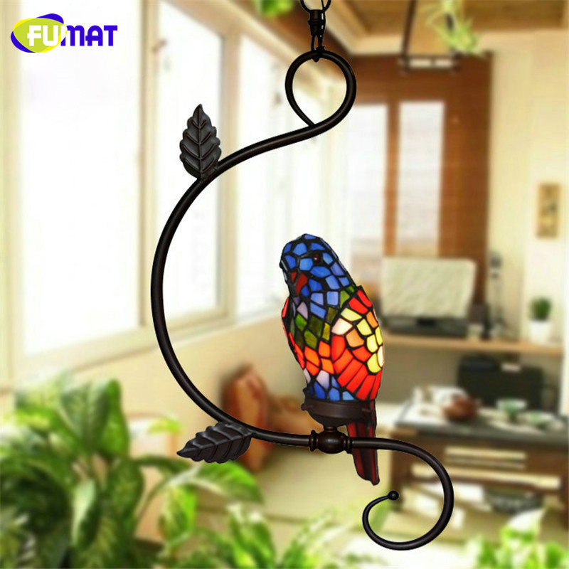 FUMAT Pendant Light Indoor Garden Corridor Lamp Creative Art Stained Glass Parrot Suspension Lamp Restaurant Coffee Bar LED Lamp tiffany parrot corridor lamp hanging creative decorative lamp handmade art limited special lamp df42