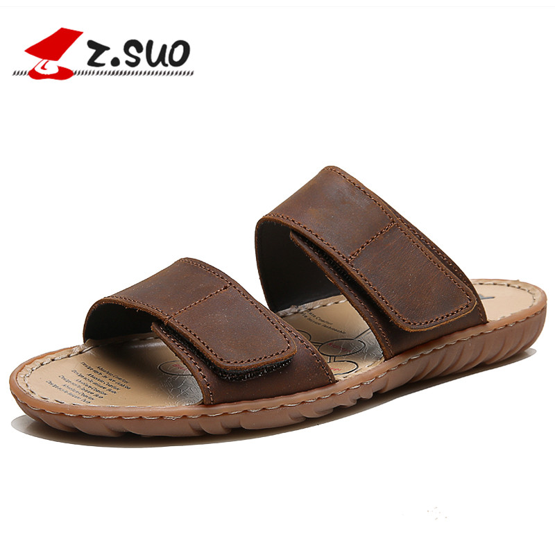 Z.SUO Brand Genuine Leather Men Slippers Plus Size:38-47 Waterproof Summer Shoes Men Outdoor Beach Shoes Flat Sandals Slides summer aqua shoes outdoor slide sandals mens slippers beach sand slippers men camouflage lovers slides couples plus size shoe 45