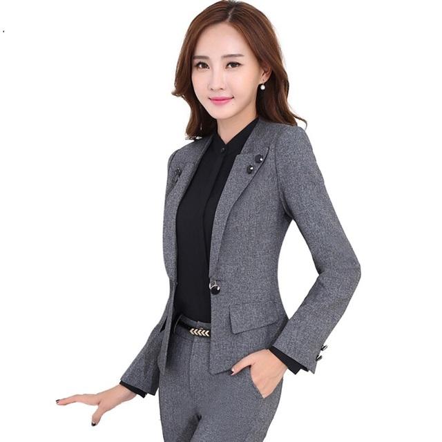 Profesional femenino de manga larga traje de pantalones de moda delgado señoras de la oficina de desgaste trajes de pantalón de negocios más tamaño chaqueta conjunto