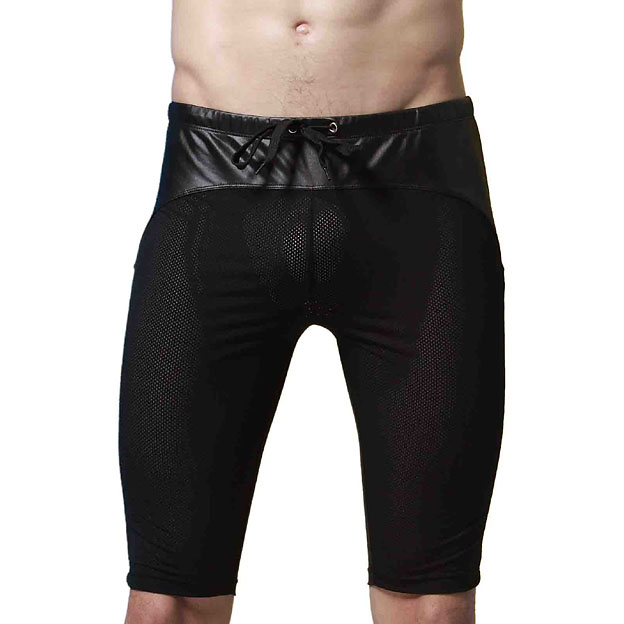 Men shorts  Brand Fashion casual shorts Breathable Faux Leather Patchwork Mesh Black Casual solid Drawstring Men Shorts