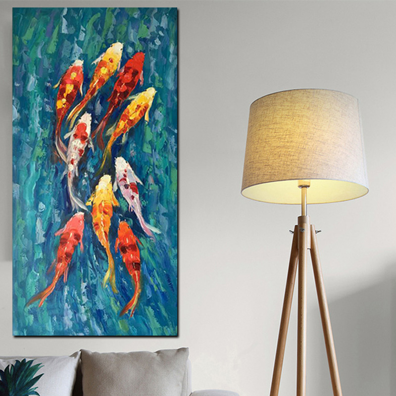 Wall Art Picture HD Print Chinese Abstract Nine Koi Fish Landscape Oil Painting on Canvas Poster For Living Room Modern Decor (4)