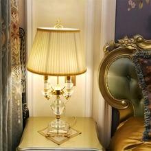 Modern Crystal Table lights Bedroom Table Lamps Fabric Lampshade Living Room Decoration Abajur Bedroom Lamparas De Mesa Desinger