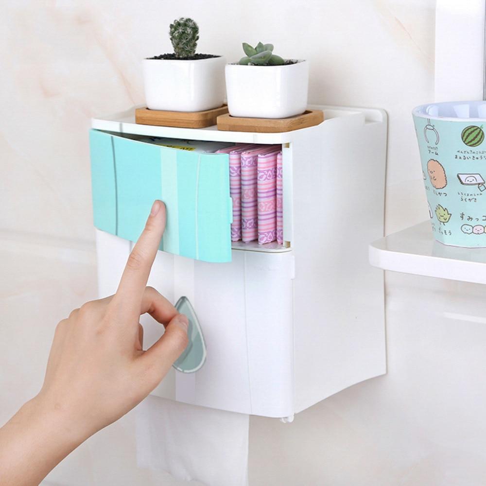 Cuarto de baño tejido impermeable de plástico de la caja de baño sostenedor de papel higiénico de montado en la pared de papel de caja de almacenamiento de doble capa HG602370