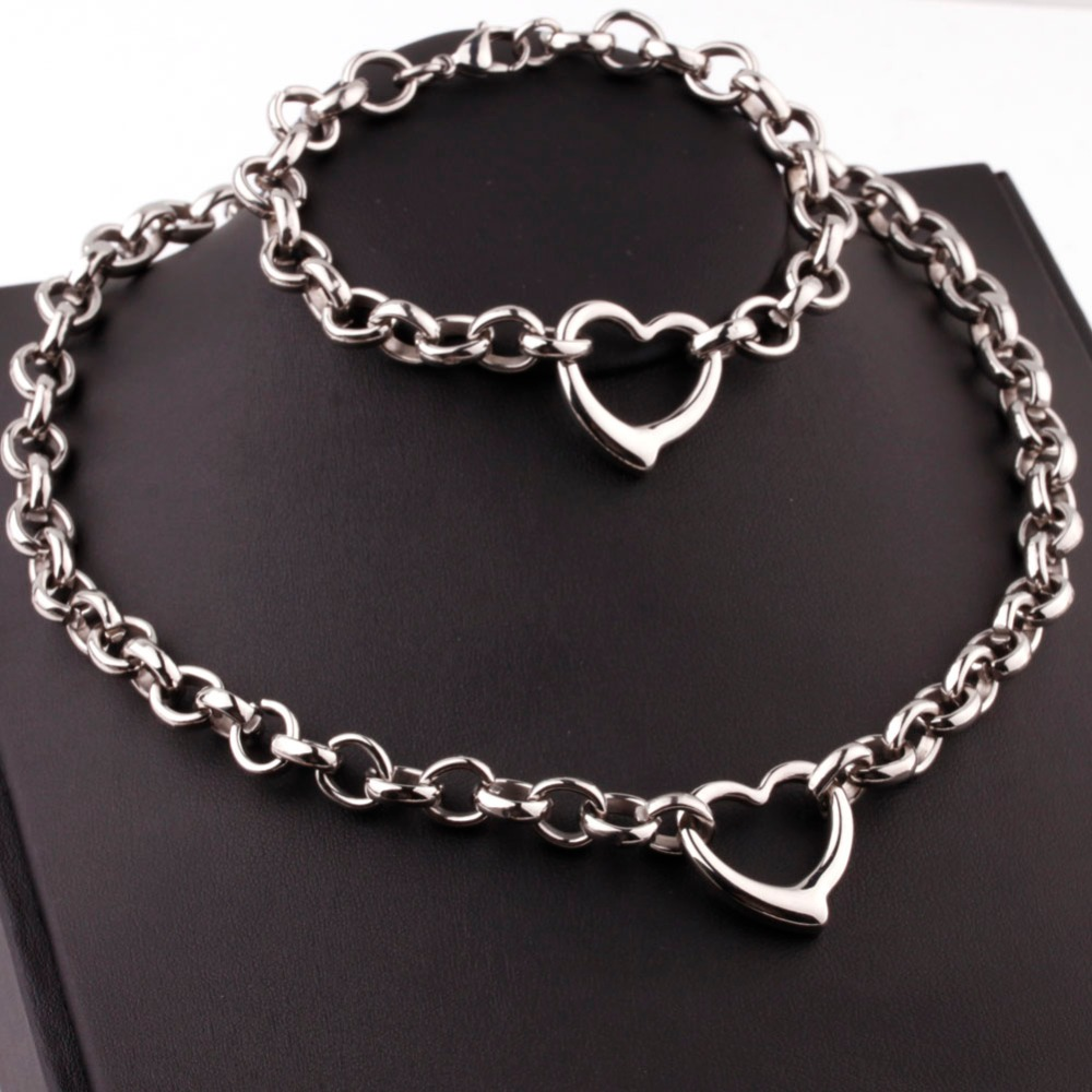 Fashion Jewelry Womens 10mm Stainless Steel Silver Gold Heart Rolo Chain Charm Necklace Bracelet Set 45cm 20.5cmFashion Jewelry Womens 10mm Stainless Steel Silver Gold Heart Rolo Chain Charm Necklace Bracelet Set 45cm 20.5cm