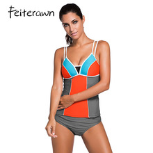 Feiterawn 2017 Women Sexy Beach Swimwear Lace Splice Color Block Two Pieces Swimsuit Bikini Bottom with Tankini Tops DL41961