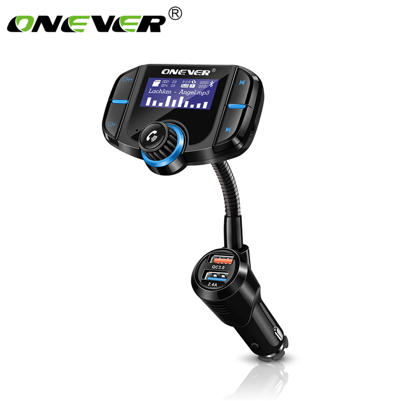 Onever 2 Port Quick Charge 3.0 Charger FM Transmitter Handsfree Car Kit
