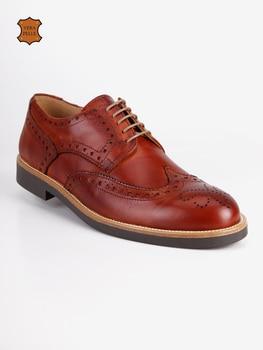 Man's camel hollow-out texture ventilated shoelace leather shoes suit shoes business shoes
