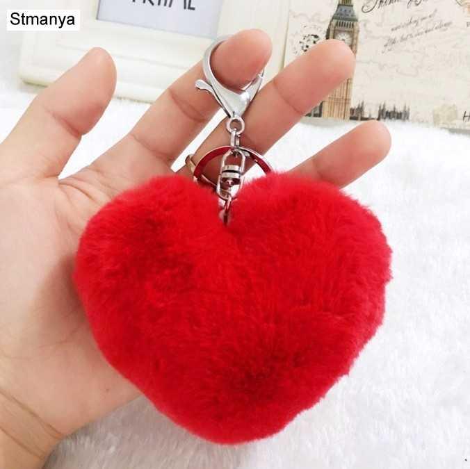 Imitação coelho cabelo bola anel chave do luxuoso do coração do pêssego amor K1511 saco carro pingente de presente por atacado