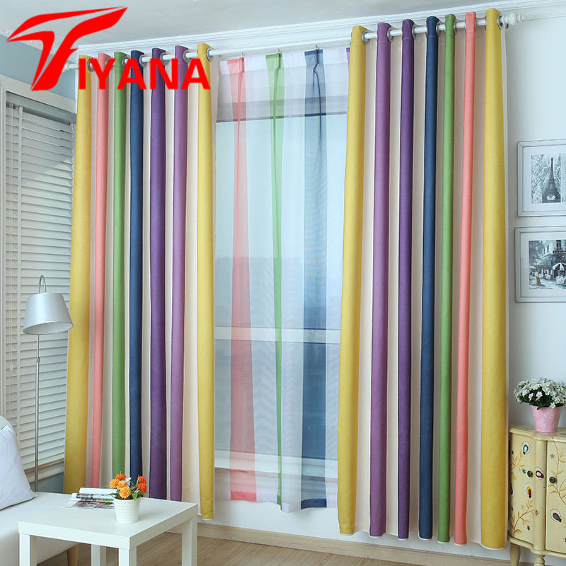 Tiyana Rainbow Design Curtain Modern Simple Striped Purple Window Drapes For Kids Room Bedroom