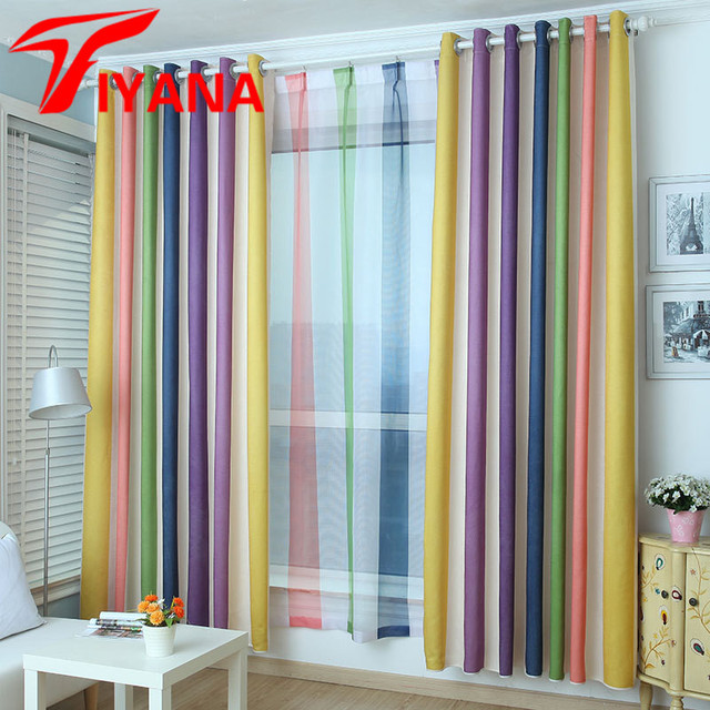 tiyana rainbow design curtain modern simple striped purple window rh aliexpress com