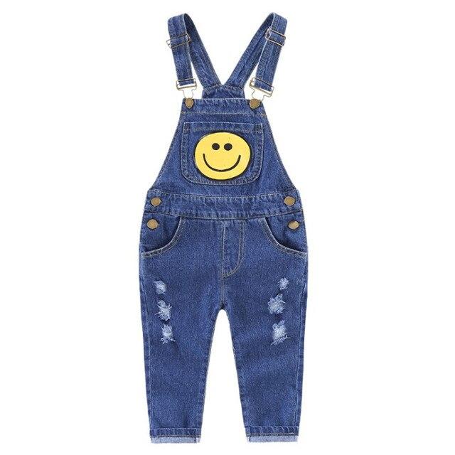 aeb783b0cab 2018 New Baby Boys Overalls Toddler Boy Clothing Children Denim Pants Face  Pattern Kids Jumpsuit Bib Jeans Children Clothes