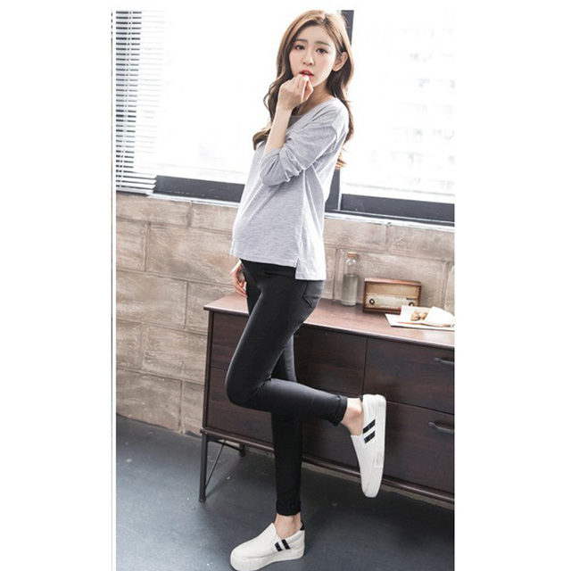 Elastic Waist Cotton Pants Capris for Women Winter Plus Velvet Maternity Clothing Pregnancy Clothes Thickened Leggings Trousers