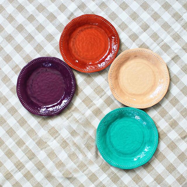 4pc Melamine dinnerware set solid color round plate vintage canvas design buffet tray salad cake plastic & 4pc Melamine dinnerware set solid color round plate vintage canvas ...