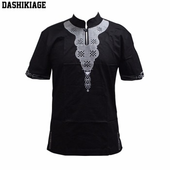 Dashikiage Unisex Pan-African Hippie Boho Embroidered Dashiki Shirt Traditional Nigerian Native Ankara Party T-shirt