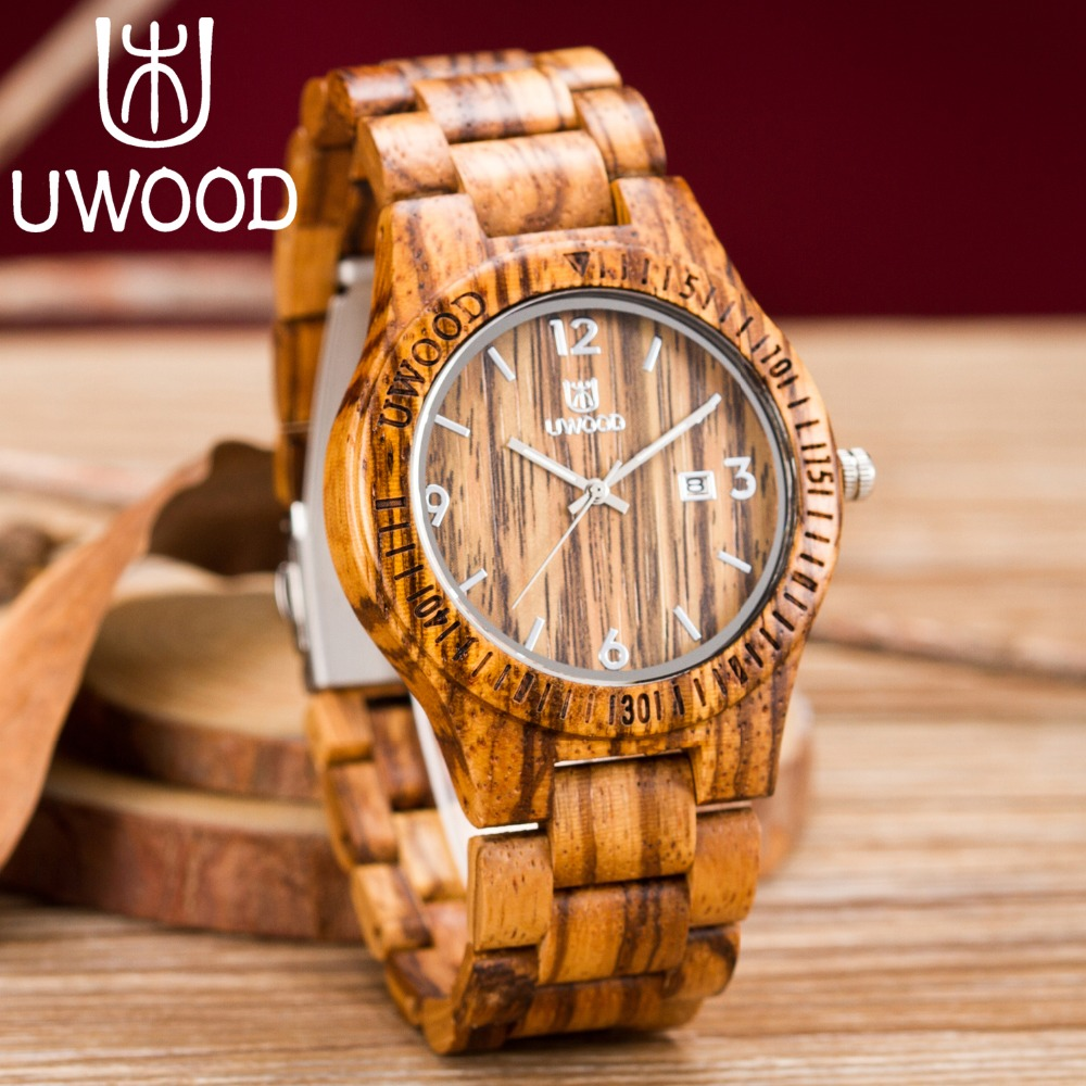 2018 Newest Quartz Wooden Watch Top Luxury Brand UWOOD Japan Movement Zebra Wood Watches For Men Women Simple Analog Wristwatch цена