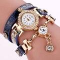Excelente qualidade duoya moda mulheres pulseira de relógio de quartzo relógio de pulso pulseira de couro as mulheres se vestem relógios montre femme
