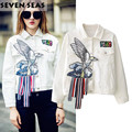 Новая Мода Chic Вышивка Белый Орел Куртка Джинсовая Куртка Женщины Пальто Chaqueta Mujer Весте ан жан