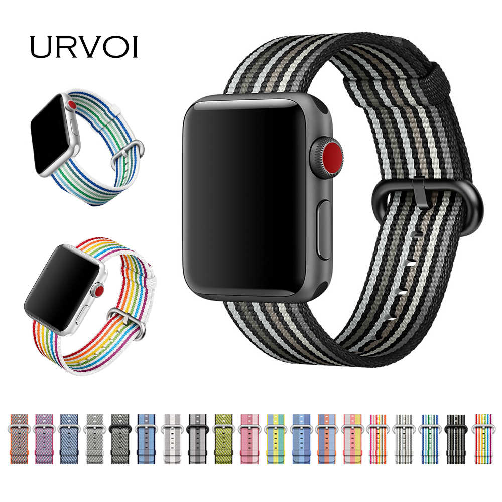 URVOI 2018 band for Apple Watch series 4 3 2 1 woven nylon fabric-like feel strap for iWatch new pride edition classic buckle