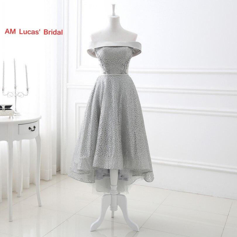 Elegant Cocktail Dress High Front Low Back Off The Shoulder Lace  Wedding Party Gowns Short Dresses