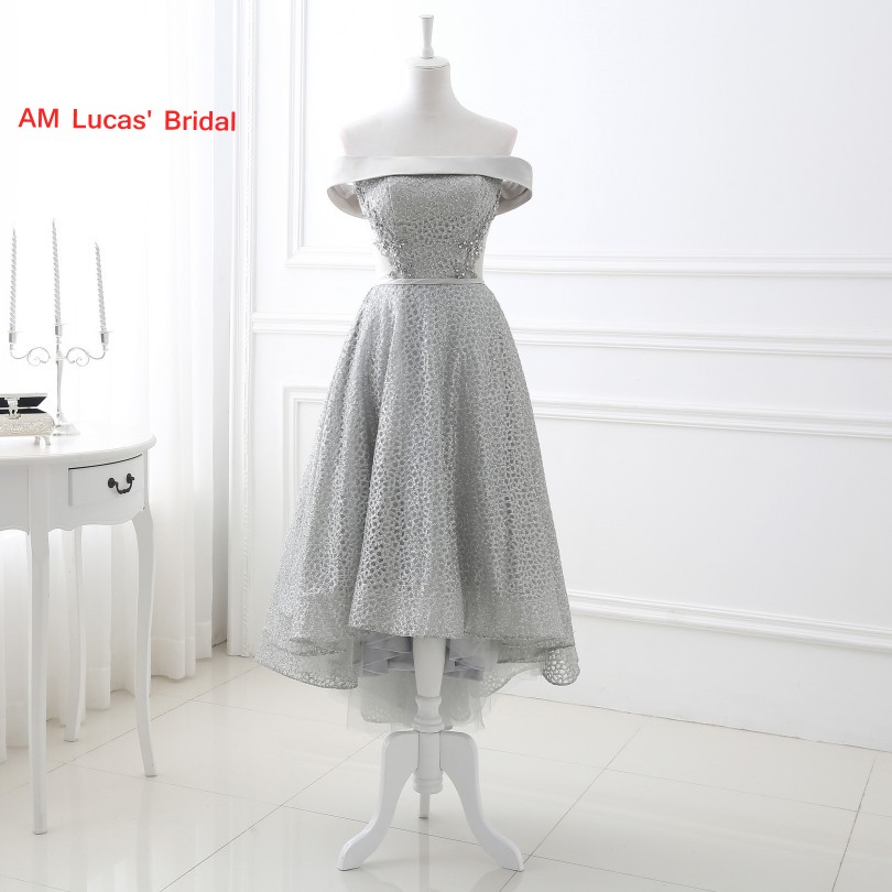 Elegant   Cocktail     Dress   High Front Low Back Off The Shoulder Lace Wedding Party Gowns Short   Dresses
