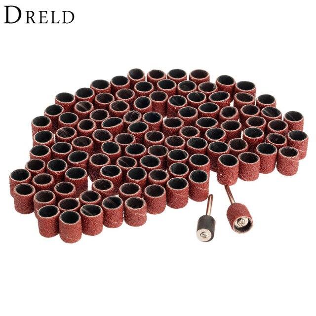"""100 יחידות תוף מלטש Dremel אבזרים חצץ 80 #9.5 מ""""מ ערכת + 2 יחידות Mandrel חול מלטש בנד 3.17 מ""""מ עבור כלי נייל מקדחת רוטרי ביטים"""