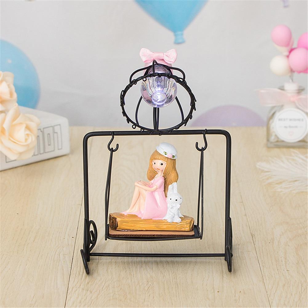 Bedside Little Girl Swing Night Light Ornament for Home Living Room TT-best