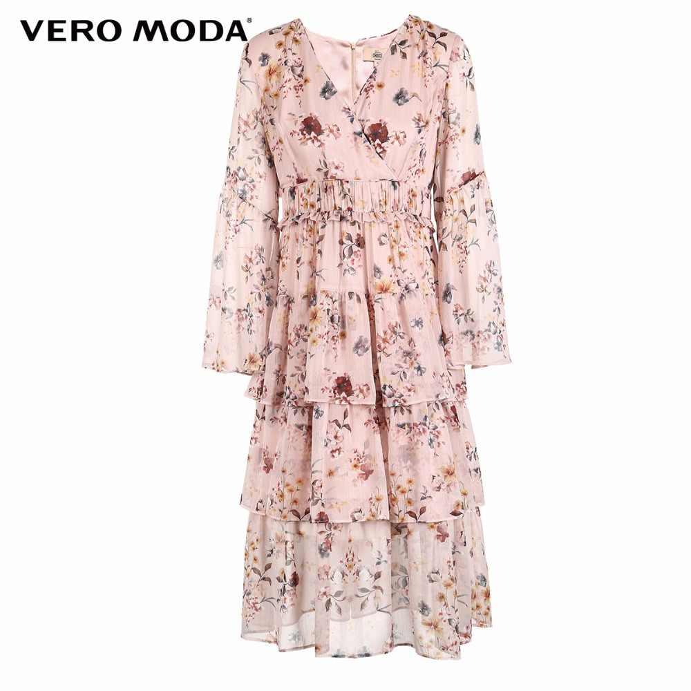 Vero Moda 2019 новое платье с v-образным вырезом и Расклешенным рукавом/цветочным принтом   31847D506