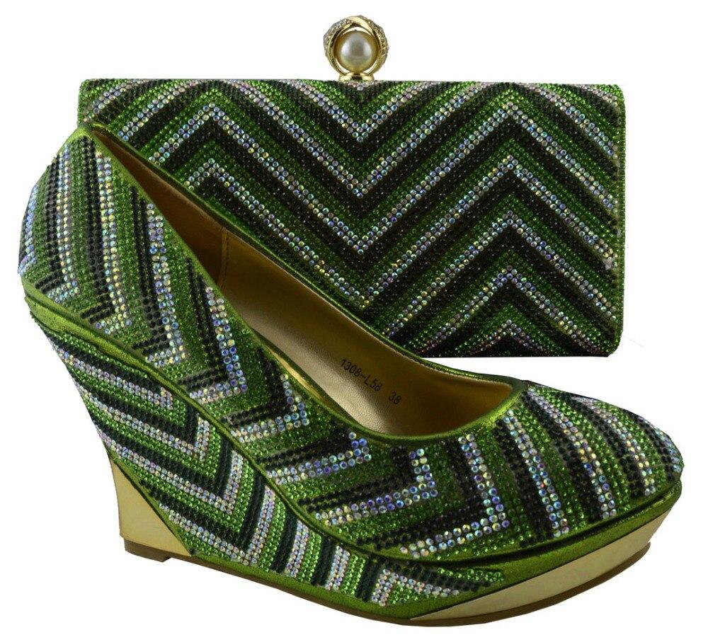 ФОТО Most Popular African High Heels Matching Bag Rhinestone Wedding Italian Shoes And Bag Set Fast Shipping HZL1-35