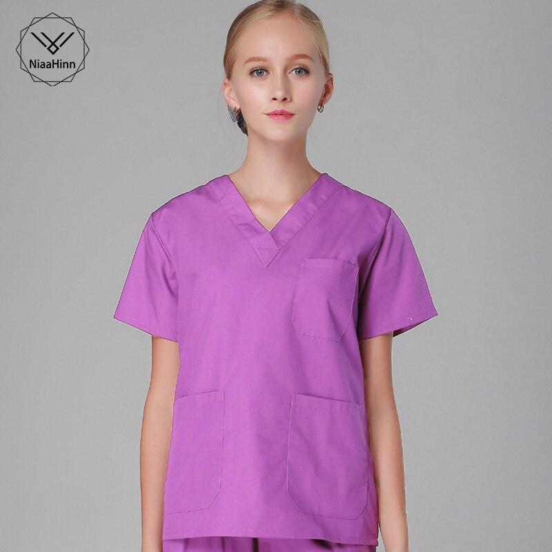 Ladies Medical Medical Lab Coat Hospital Doctor Slim Short Sleeve Tops Nurse Uniform Medical Gown Overalls Women Nursing Scrubs