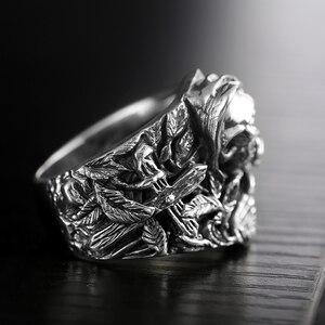 Image 2 - 925 Sterling Zilveren Schedel Ringen Voor Mannen Met Cross Bloem Huilende Eagle Vintage Punk Rock Thai Zilveren Gothic Overheersend Ring