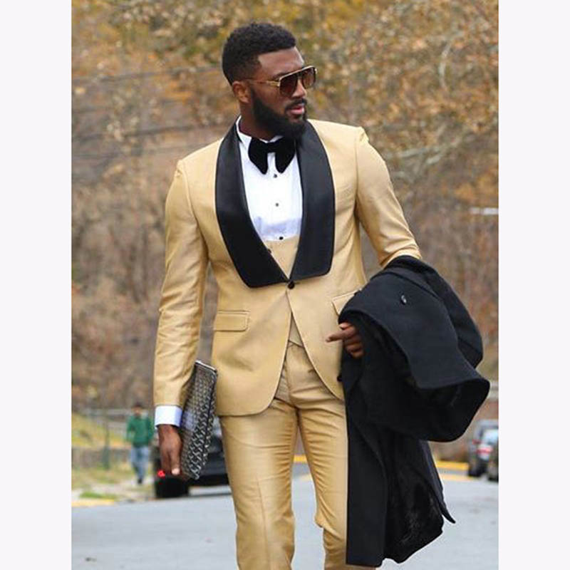 Custom Men Suit For Wedding Gold With Black Lapel Slim Fit Tuxedo Man Suits Tuxedos mens terno masculino 2019 Jacket+Pants+Vest
