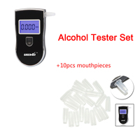 Greenwon Alcohol Tester Set Digital Alcohol Tester Breathalyzer AT818 10pcs Mouthpieces Blowpipes For Alcohol Tester AT818