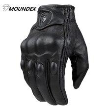 Топ Guantes Перчатки Моды натуральная Кожа Полный Палец Черный moto мужчины Мотоцикл Перчатки Мотоцикла Защитная Gears Мотокросс Перчатки