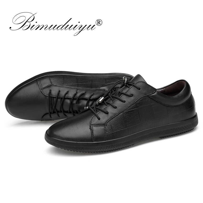 BIMUDUIYU Merk Echt Lederen Mannen Schoenen Lace-Up Ademende Zachte Herfst Casual Flats Schoenen Eenvoudige Zwarte Stijl Mode Sneakers